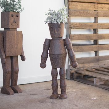 Set Of 2 Metal Robot Planters
