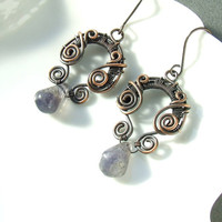 Water sapphire copper earrings, art nouveau styled iolite earrings, blue stone drop and antiqued copper jewelry