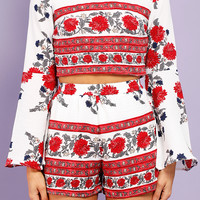 Floral Print Bell-Sleeve Top And Shorts Set