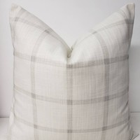 White and Grey Check Farmhouse Pillow Cover