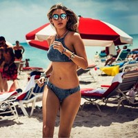 Beach Swimsuit Summer Hot New Arrival Sexy Denim Swimwear Set Women's Fashion Bikini [6533216455]