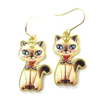 Princess Kitty Siamese Cat Fancy Illustrated Animal Dangle Earrings | DOTOLY