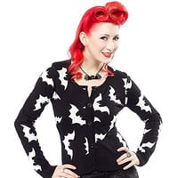 Sourpuss Black & White Batty Cardigan Sweater