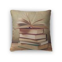 Throw Pillow, Vintage Old Books