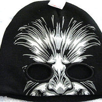 Gray Wolfman Print on Black Winter Knitted Skull Beanie Ski Cap -New with Tags!