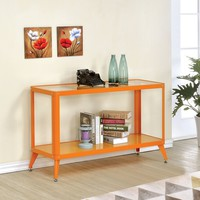 Kidder collection orange glass and metal sofa console entry table