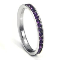 316L Stainless Steel Amethyst Purple Cubic Zirconia CZ Eternity Wedding 3MM Band Ring