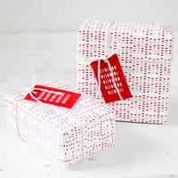 Binary Valentine's Gift Wrap Set. Red White Wrapping Paper Tags String Ribbon. Computer Geek Nerd Science Big Bang Theory