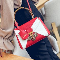 Women Fashion Multicolor Retro Personality Bee Lock Single Shoulder Messenger Bag Bamboo Festival Handbag