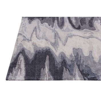 Abstract Grey Color Hand Tufted Modern Style Bamboo Silk Area Rug