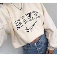 N NIKE women-fashion-nike-round-neck-top-sweater-pullover-sweatshirt F