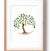 Tree of life watercolor,  original painting, tree painting, Tree of life art, minimalist tree watercolor, home decor, Green, Brown