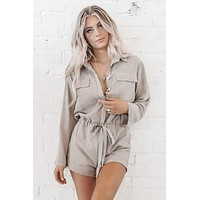 We're Vibing Front Button Up Romper
