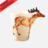 3D Hand-painted Cute Animals Ceramic Coffee Mug Lively Grazing Deer Water Goblet Cup