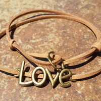 Brown Leather Bronze Anchor Love Bracelet Anklet Charm Men Women Unisex Fashion New Love Cute Diy Friendship