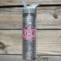 Monogrammed Glitter Water Bottle - Glitter Water Bottle - Sparkly Water Bottle - Monogrammed Water Bottle Silver Glitter Waterbottle