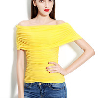 Yellow Ruched Off Shoulder Top