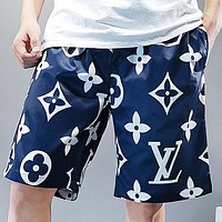LV  Summer New Fashion Monogram Print Shorts Blue