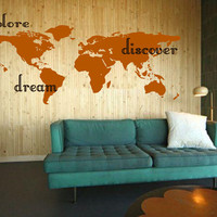 Explore, Dream, Discover the WORLD - Hawaii Inspired Surface Graphics - vinyl wall art  decals sticker by 3rdaveshore  Made in the USA