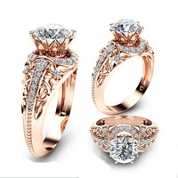 STYLEDOME 14K Rose Gold Ring Round Cut 2.2CT White Topaz Engagement Ring