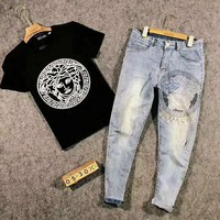 VERSACE Hot Sale Men Casual Print Short Sleeve Top Tee Pants Jeans Two-Piece Set