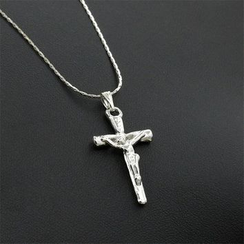 Stainless Steel Simple Little Cross Pendant Clavicle chain necklace