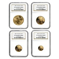 2001-W 4-Coin Proof Gold American Eagle Set PF-70 NGC