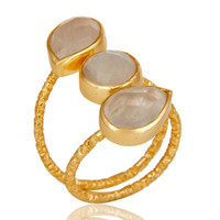 Rainbow Moonstone Sterling Silver Prong Set Joint Ring with 18k Gold Plated