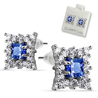 Pair of Stainless Steel Multi CZ Around Square Sapphire CZ Stud Ear WildKlass Rings (Sold as a Pair)