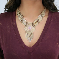 All That Glitters Gold Statement Necklace With Spike Details & Stone