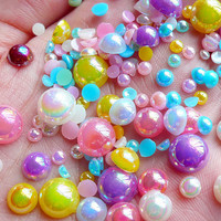 AB Faux Pearl Cabochons (Colorful / Round / Half) Mix / Assorted (Around 100 pcs / 3.5 gram) (3mm to 8mm)