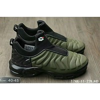 Nike Air Max Plus Slip SP TN tide fashion retro cushioned non-belt casual jogging shoes F-HAOXIE-ADXJ Army Green + Black