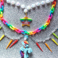 Rainbow Dash Statement Charm Necklace
