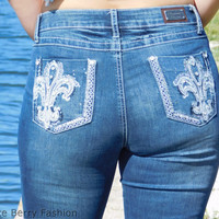 Dark Denim Fleur De Lis Boot Cut Jeans