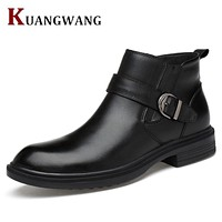 Men Boots Genuine Leather Italian Black Luxury Fashion Casual Ankle Boots Men Shoes Male For Wedding Business