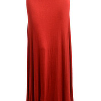 Fold Over Red Maxi Skirt