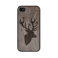 Black and Brown Deer iPhone 5 Case - Plastic iPhone 5 Case -  Christmas Wood iPhone 5 Skin - Rustic Woodland iPhone 5 Cover For Him