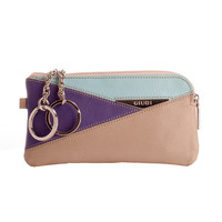 Leather Zip Key Chain Coin Pouch