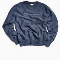 Champion & Urban Outfitters Script Logo Crew Neck Sweatshirt   Urban Outfitters