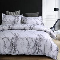 Marble Duvet Cover Sets Modern Bedding Sets for Adults, Reversible White Grey Pattern, Cotton Bedding Collections, Hypoallergeni