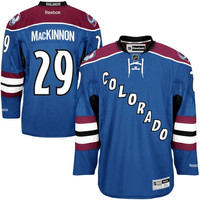 Reebok Nathan MacKinnon Colorado Avalanche Premier Player Jersey - Steel Blue