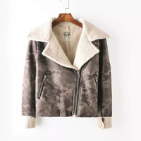Faux Suede Leather Camouflage Zipper Jacket