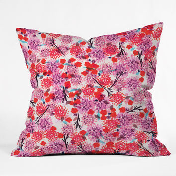 Joy Laforme Floral Forest Red Outdoor Throw Pillow