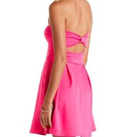 Neon Bow-Back Strapless Skater Dress by Charlotte Russe