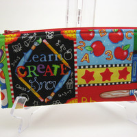 BACK TO SCHOOL Sale. Long Zipper Pouch, Pencil Case, Make-up Brush Case, School Days, Ready to ship