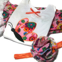 Baby Girl Outfit - Baby Girl Clothing Set, Butterflies for Baby Girl,Baby  Bloomers and  Butterfly Shirt, Peapodlilfrogs
