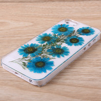 Blue Daisy Pressed Flower Free Shipping iPhone 6 case iPhone 6 Plus case iPhone 5 5S 5C case iPhone 4 4S case Samsung galaxy note4 note3 note2 S5 S4 S3 case 044