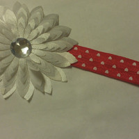 Shiny Red Infant Headband With White Hearts and White Flower