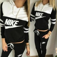 DCCK NIKE Print Hoodie Top Sweater Pants Sweatpants Set Two-Piece Sportswear