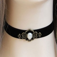 """Gothic Vampire Black Velvet Choker Necklace with Simulated Pearl Adjustable(approx 11.8""""-13.7"""")"""